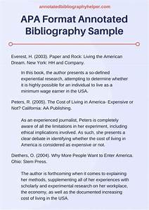 Apa Format Outline Example Annotated Bibliography Template Apa Bibliography