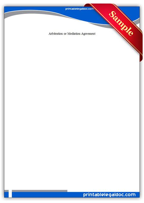 printable arbitration  mediation agreement form