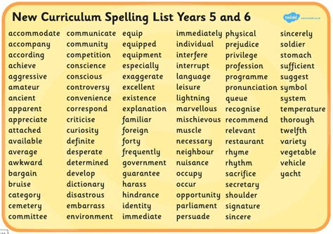 year 5 6 spelling list kentish town c of e primary school
