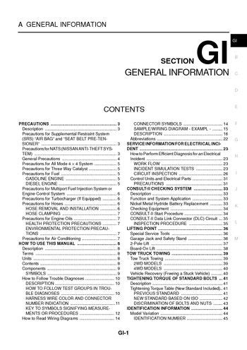 nissan  trail general information section gi