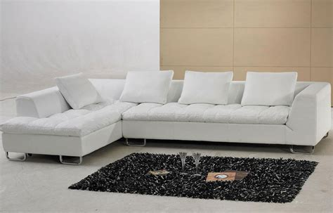Luxurious White Leather L Shaped Sofa Furniture Mixed