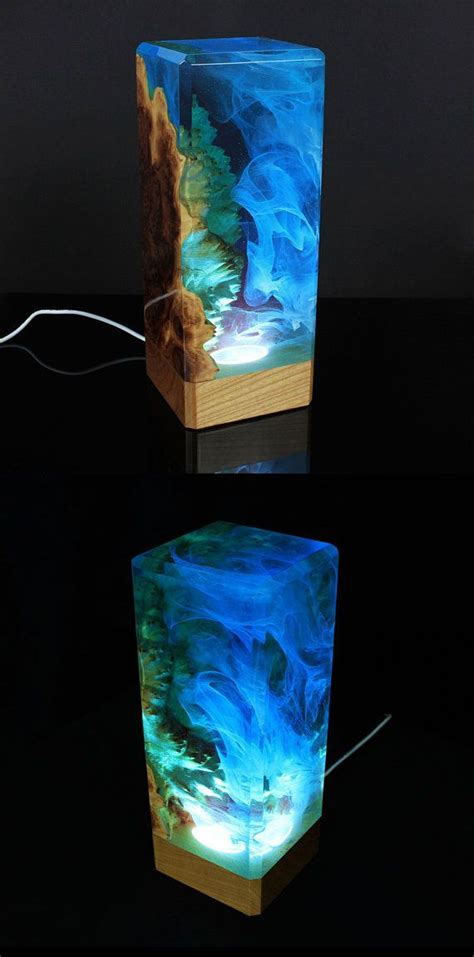 resin  wood decor ambient night light resin table