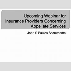 Upcoming Webinar For Insurance Providers Concerning Appellate Services