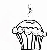 Cupcake Coloring Pages Birthday Cupcakes Printable Candle Drawing Line Cliparts Clipart Template Getcoloringpages Bestcoloringpagesforkids sketch template