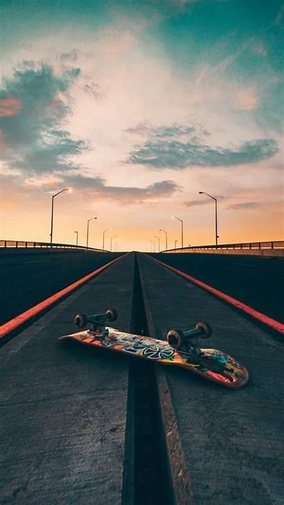 Skateboard Sunset Skate Wallpapers Road Marks Iphone