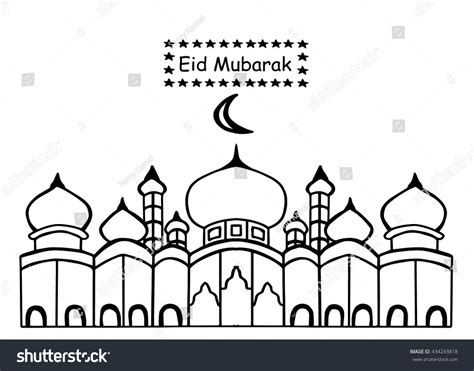 eid mubarak mosque star  doodle stock vector