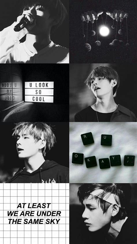 kim taehyung black  white wallpaper  post hitam