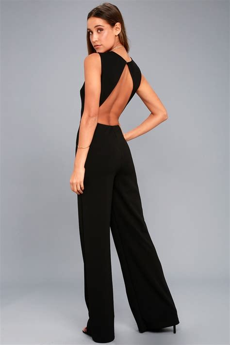 lulus jumpsuit black jumpsuit backless jumpsuit wide leg jumpsuit