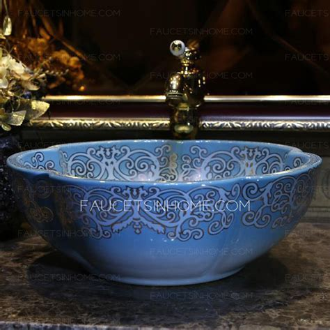Blue Flower Shape Ceramic Vessel Sink Pattern Painting