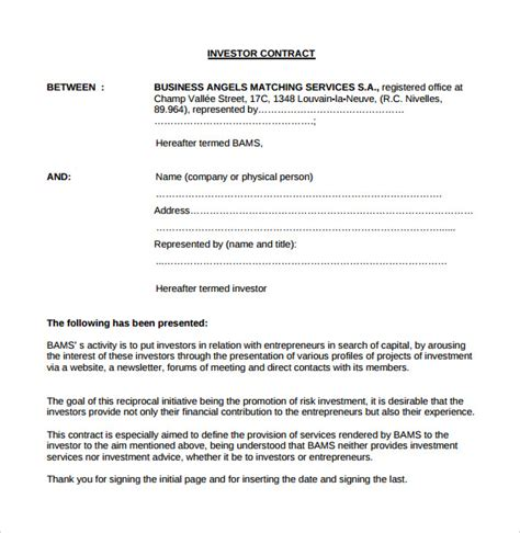 sample investment contract templates