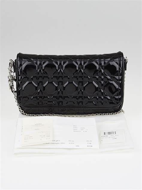 christian dior black quilted cannage patent leather chain pochette clutch bag yoogis closet