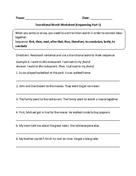 20 best images of transition worksheet for students