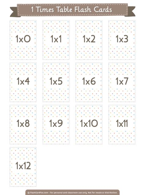 printable  times table flash cards