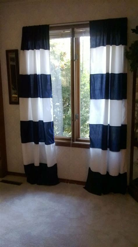 navy white curtains light blue and white horizontal striped curtains curtain