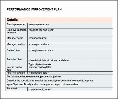 improvement plan template sampletemplatess