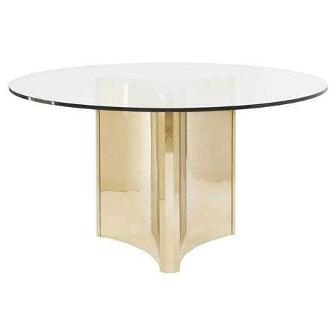 Ellen Modern Sleek Gold Round Glass Top Dining Table
