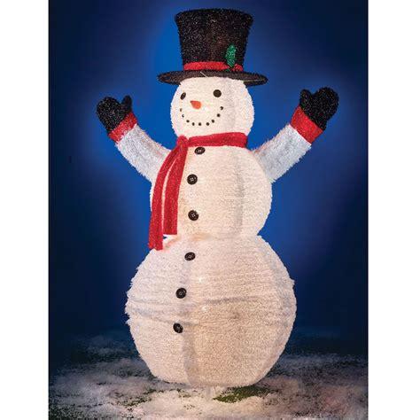 the illuminated 6 foot pop up snowman hammacher schlemmer