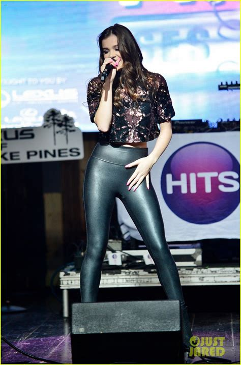 hailee steinfeld hits revolution event sessions pants leggings positive quote leather tight rocks yoga hailey justjared sexy junk sized legging