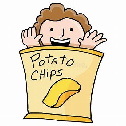 Potato Chips Clipart Chip Bag Kid Cartoon