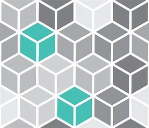 Blue Gray Fabric - 3D Cube pattern - combed cotton ...