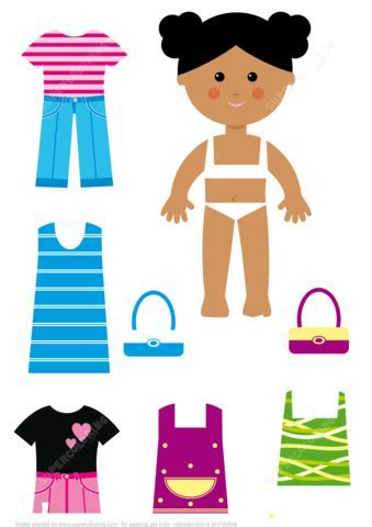 African American Girl Paper Doll with Casual Clothes Set