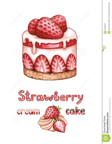 illustration  strawberry cake stock image image