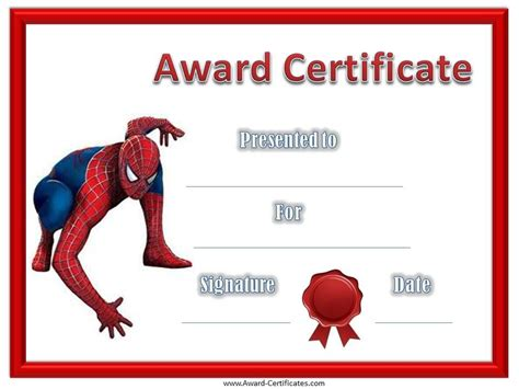 spiderman award certificate  images award