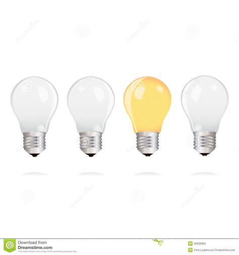 light bulbs with one bright light bulb on white background