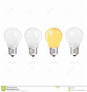 Light Bulbs With One Bright Light Bulb On White Background ...