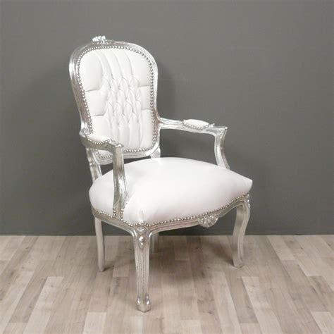 fauteuil baroque louis xv blanc pas cher