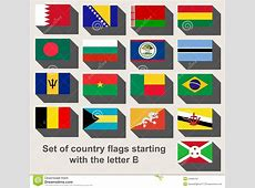 Set Of Country Flags Staring With The Letter B Stock