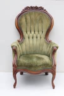 vintage chair with tufted sage green chenille upholstery