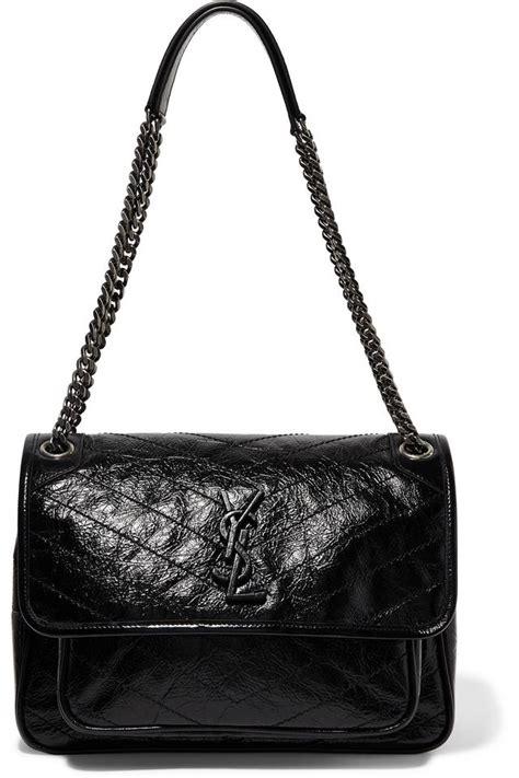 saint laurent shoulder bag ysl monogram medium niki chain crinkle black leather satchel tradesy