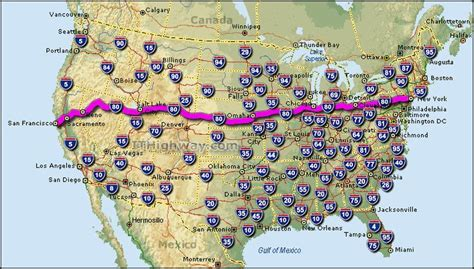 80 highway interstate map road route usa 90 coast california east york trip travel west 40 maps across country states
