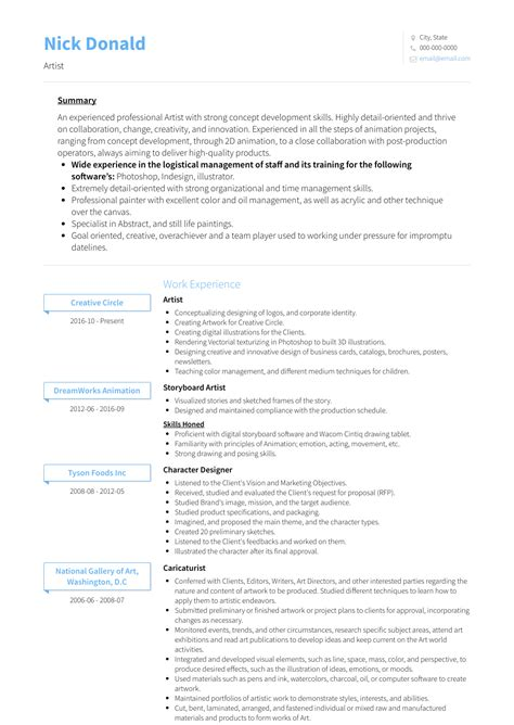 Artist Resume by Artist Resume Sles And Templates Visualcv