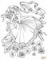 Coloring Dancing Ribbon Pages Dance Drawing Supercoloring Books Elegant Dancers Woman Printable Adult Sheets Super Paper sketch template