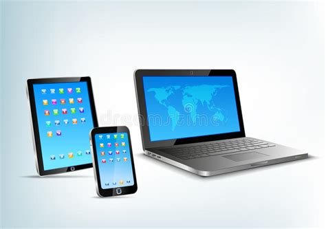 Touchpad, Notebook, Mobile Phone Vector Perspectiv Stock