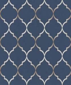 701647 Selection Chelsea Trellis Blue Wallpaper Rasch
