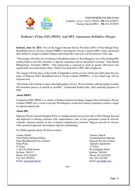 Acquisition Press Release Template by Sle Press Release