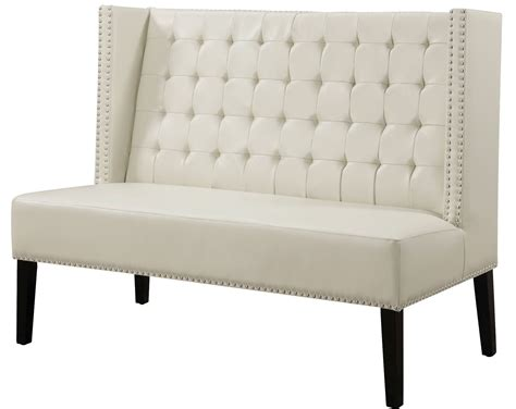 Halifax Cream Leather Banquette Bench From Tov (63115