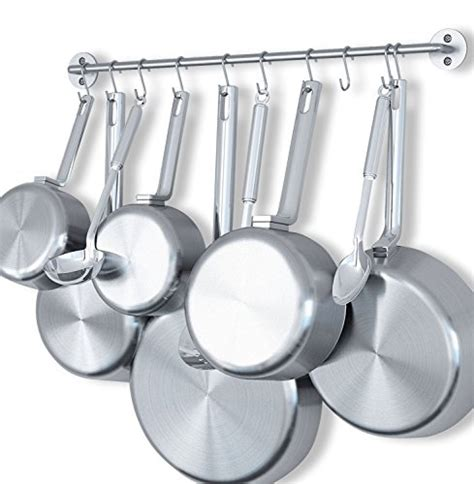 wallniture gourmet kitchen wall mount rail pot pan lid holder rack and 10 hooks silver 24 inch