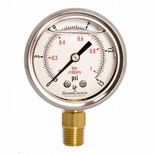 2 U0026quot  Oil Filled Pressure Gauge  Br 1  4 U0026quot  Npt Lower Mount