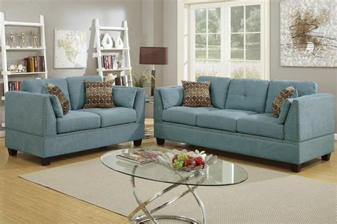 Fabric Sofa And Loveseat Sets by Poundex Barlo F6918 Blue Fabric Sofa And Loveseat Set