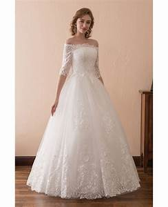 Off the shoulder lace ballroom wedding dress with 1 2 for Ballroom gown wedding dress