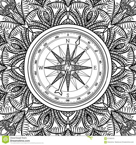 graphic wind rose compass stock vector illustration