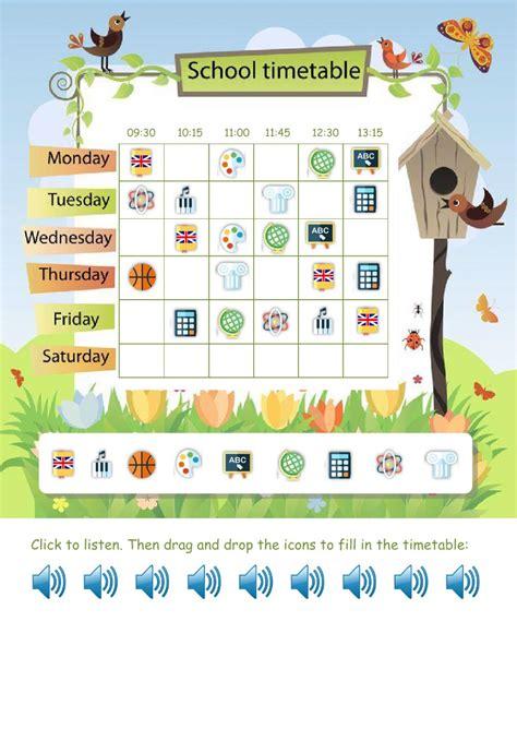 school timetable worksheets my school timetable interactive worksheet