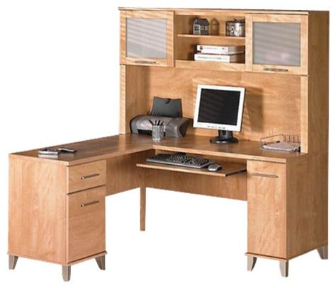 bush somerset 4 l shape computer desk set in maple cross transitional desks and