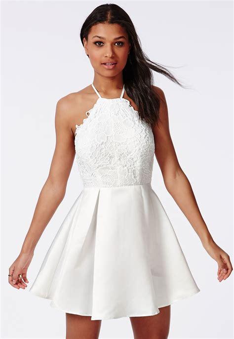 white dresses lace halterneck skater dress white dresses skater