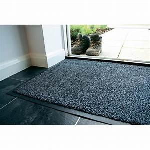 tapis d39entree anti poussieres coton gris 09 m x 06 m With grand tapis d entrée