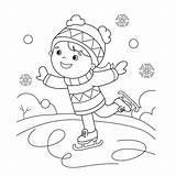 Coloring Skating Ice Winter Sports Cartoon Outline Clip Illustrations Vector sketch template